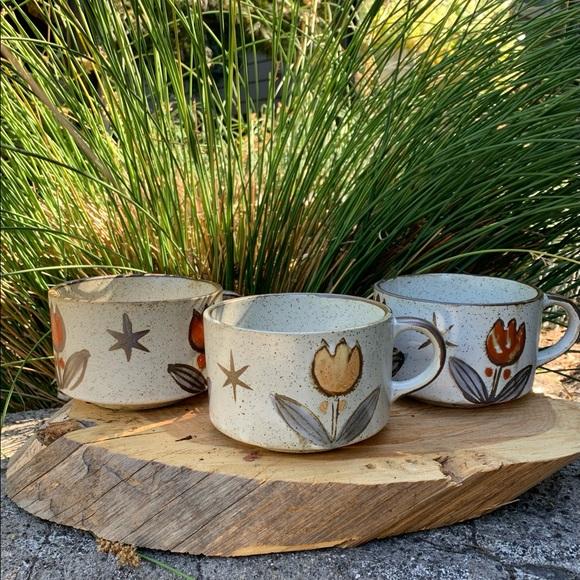 Vintage speckled stoneware soup mugs - set of 3